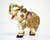 Crafted Stone Elephant Figurine Sculpture