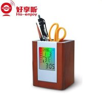 Colorful Wooden Pen Holder With Clock