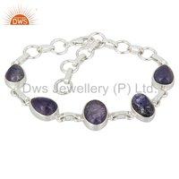 925 Sterling Silver Natural Tanzanite Gemstone Bracelet