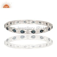 Beautiful Designer 925 Silver Natural Iolite Gemstone Bangle Bracelet