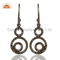 Black Rhodiuum Plated Sterling Silver Pave Diamond Party Wear Earrings