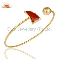 Red Onyx Gemstone Gold Plated 925 Silver Cuff Bracelet