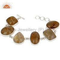 925 Sterling Silver Natural Rutile Gemstone Designer Bracelet