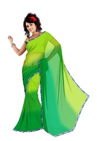 Faux Georgette Sarees With Ready Made Designer Blouse