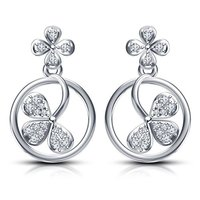 925 Sterling Silver Flower Design Fancy Look Drop Earrings