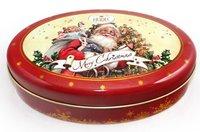 Fancy Oval Christmas Tin Box