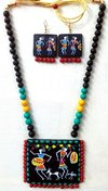 Flagrant Handmade Warli Painting Terracotta Necklace Sets For Summer Fashion