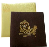 Designer Brown Metallic Wedding Card