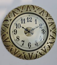 Hand Carved Brass Fitted Wooden Wall Clocks