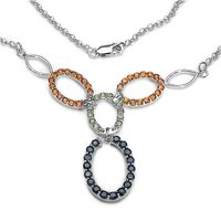 Blue And Orange Sapphire 925 Sterling Silver Necklace