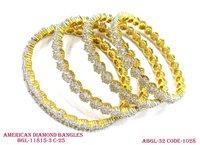 Flower Designed Diamond Bangles