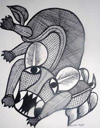 Black And White Gond Painting