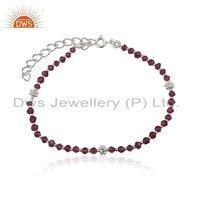 White Rhodium Plated Garnet Gemstone Bracelet