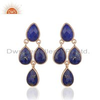 Rose Gold Plated Lapis Gemstone Earrings
