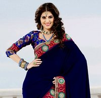 Navy Blue And Royal Blue Velvet And Net Saree With Blouse