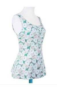Lizzy Rose Flower On Silky Green Tops