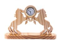 Double Horse Wooden Table Clock