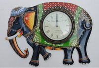 Hand Carved And Painted Decorative Elephant Wooden Wall Clocks