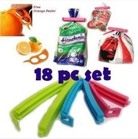 18 Pc 3 Different Size Plastic Food Snack Bag Pouch Clip Sealer For Keeping Food Fresh