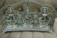 Silver Finish Metal Ganesh Lakshmi Saraswati Idols