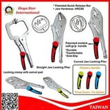 Curved, Straight Jaw Locking Plier And Locking Clamp With Swivel Pad