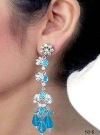 Ladies Fancy Rhodium Earring