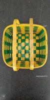 Bamboo Square Fruit Baskets With Handle