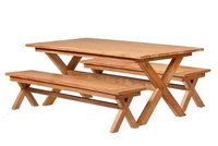 Reclaimed Dining Room Set Table - Teak Crossy Legs Table