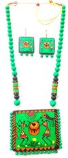 Bold Handmade Terracotta Warli Painting Design Necklace Sets