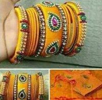 Stone Work Handmade Silk Thread Bangles
