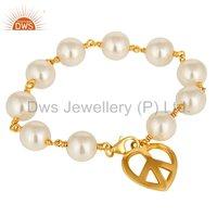 Gold Plated 925 Sterling Silver Natural Pearl Gemstone Bracelet