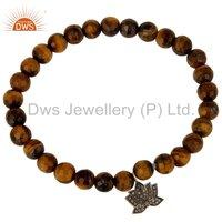Natural Tiger Eye Gemstone Beads And Flower Design Diamond Charms Bracelet