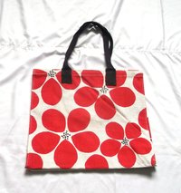 Red Color Flower Print Jute Shopping Bags in Moradabad