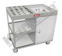 Soiled Dish & Glass Carrying Trolley With Garbage Chute & In-Built Bin Holder