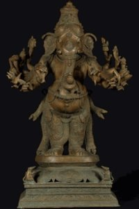 Veera Ganesh Statue With 12 Arms And 2 Rats 25.5