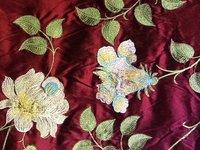 Embroidered Doupion Silk