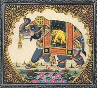 Silk Painting Elephant Lotus
