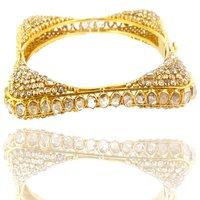Gold Square Rosecut Diamond Bangle