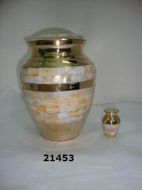 Brass Mother of Pearl Urns