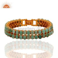 Natural Emerald Gemstone Gold Plated Silver Bracelet