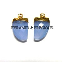 Blue Chalcedony Horn Shape Electroplated Pendant
