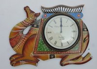 Hand Carved And Painted Camel Design Wooden Wall Clocks