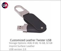 Customized Leather Twister USB Pen Drive