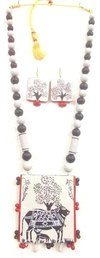 Flagrant Handmade Madubani Painting Terracotta Necklace Sets For Summer Fashion