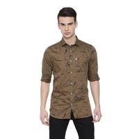 Brown Geo Casual Shirts