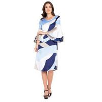 Abstract Print Blue Ruffle Dress