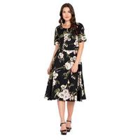 Black Floral Crepe Dress