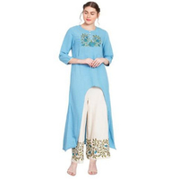 Blue Embroidered Front Cut Kurta With Palazzo