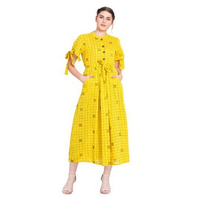 Sunblock Yellow Checkered Style Maxi Dress With Blow