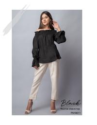 Black Flounce Sleeve Top